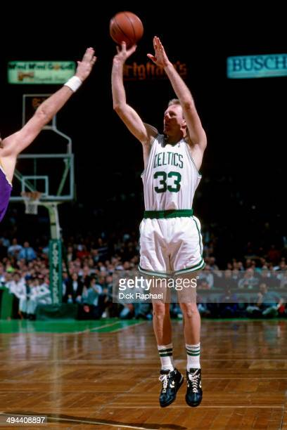 Larry Bird of the Boston Celtics shoots against the Los Angeles Lakers during a game played in 1992 at the Boston Garden in Boston Massachusetts NOTE...