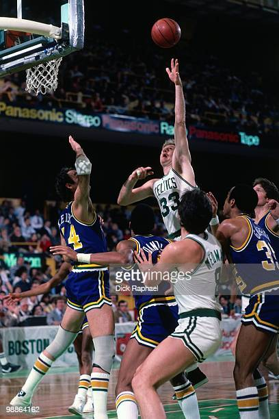 Larry Bird of the Boston Celtics shoots against the Utah Jazz during a game played in 1985 at the Boston Garden in Boston Massachusetts NOTE TO USER...