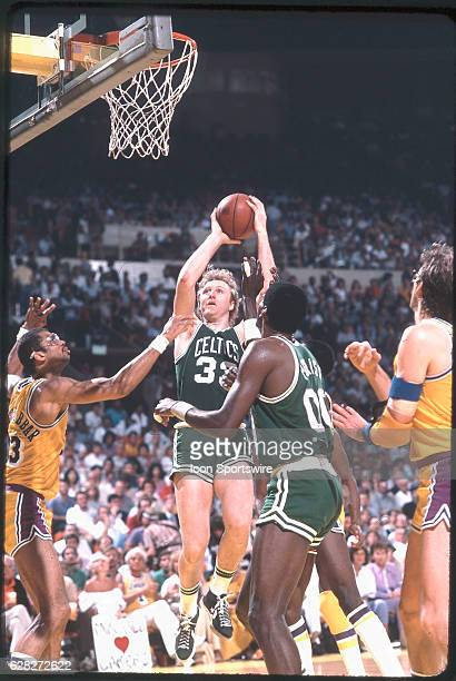 Larry Bird of the Boston Celtics shoots during a game versus the Los Angeles Lakers at the Forum in Inglewood CA
