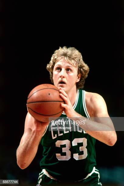 Larry Bird of the Boston Celtics shoots free throw during an NBA game circa 1981. NOTE TO USER: User expressly acknowledges and agrees that, by...