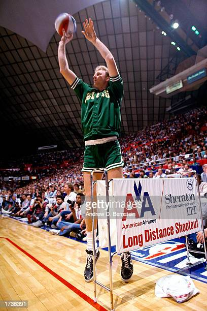 Larry Bird of the Boston Celtics shoots in the Long Distance shootout during the February 1987 NBA All Star Weekend in Seattle Washington NOTE TO...