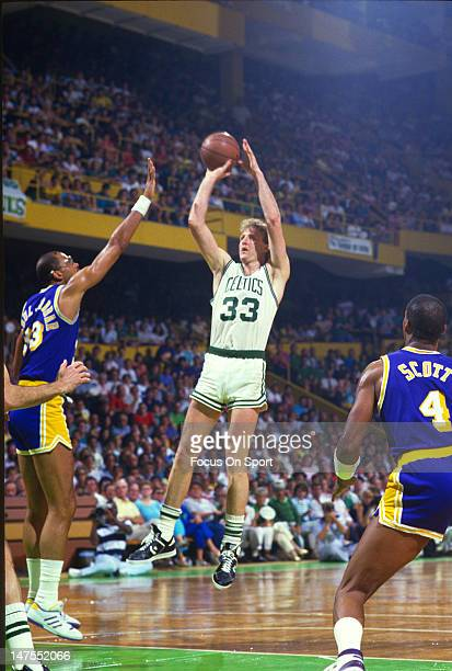 Larry Bird of the Boston Celtics shoots over Kareem AbdulJabbar of the Los Angeles Lakers during the 1984 NBA Finals June 1984 at The Boston Garden...