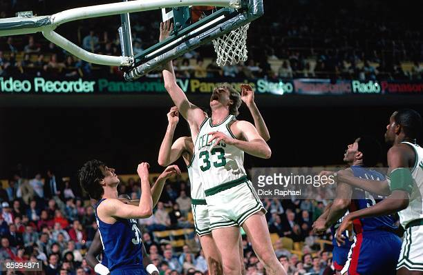 Larry Bird of the Boston Celtics shoots the layup against the New Jersey Nets during a game played in 1983 at the Boston Garden in Boston...