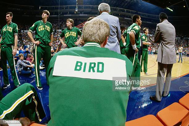 Larry Bird of the Boston Celtics sits on the bench against the Cleveland Cavaliers circa 1987 at the NOTE TO USER User expressly acknowledges and...