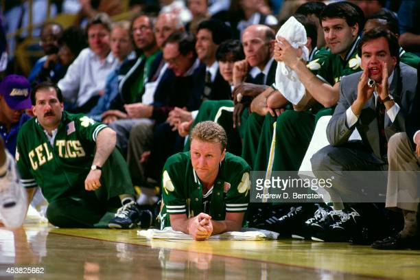Larry Bird of the Boston Celtics sits on the bench circa 1991 at the Great Western Forum in Inglewood California NOTE TO USER User expressly...