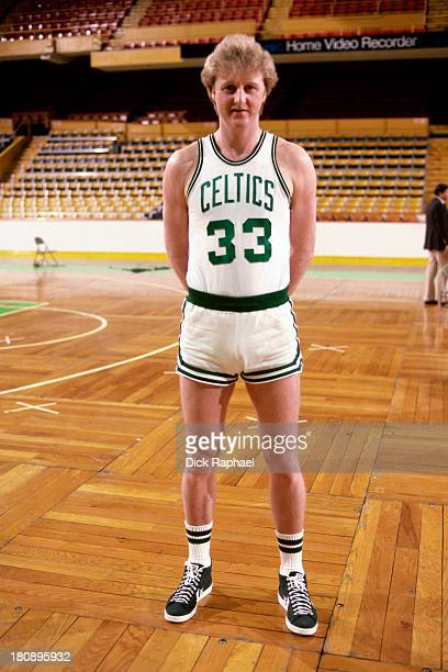 Larry Bird of the Boston Celtics stands on the court circa 1985 at the Boston Garden in Boston Massachusetts NOTE TO USER User expressly acknowledges...