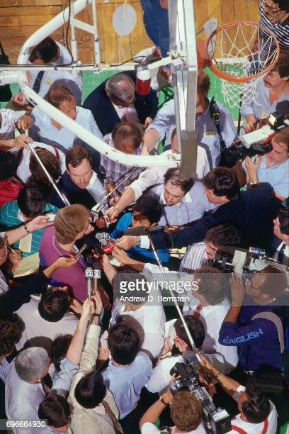 Larry Bird of the Boston Celtics talks to the media prior to Game Five of the 1987 NBA Finals on June 14 1987 at the Boston Garden in Boston...