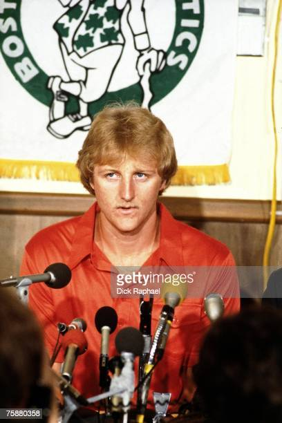 Larry Bird of the Boston Celtics talks with the media at his contract signing press conference circa 1979-1980 at the Boston Garden in Boston,...
