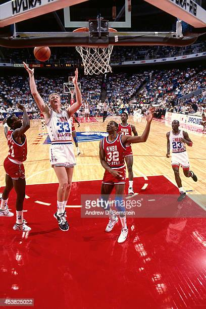 MIAMI FEBRUARY 11 Larry Bird of the East AllStars rebounds during the 1990 NBA AllStar Game on February 11 1990 at Miami Arena in MiamiFlorida NOTE...