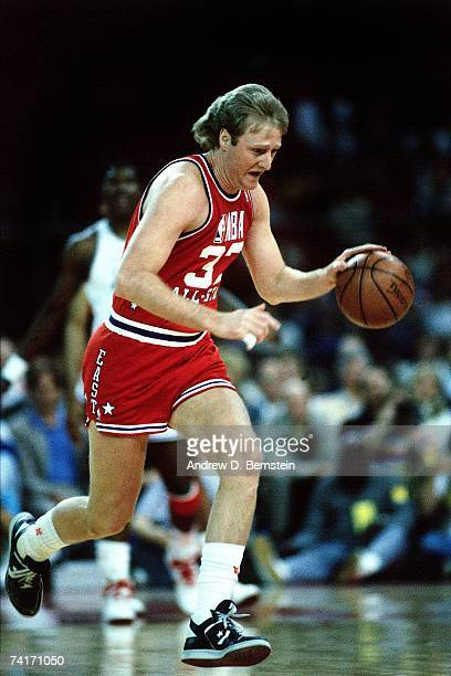 Larry Bird of the Eastern Conference AllStars dribbles up court against the Western Conference AllStars during the 1987 NBA AllStar Game played...