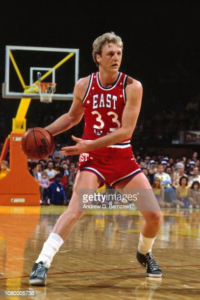 Larry Bird of the Eastern Conference AllStars handles the ball against the Western Conference AllStars during the 1983 NBA AllStar Game on February...