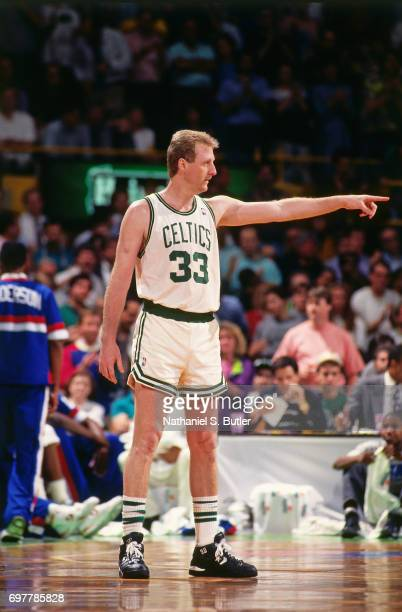 Larry Bird of the of the Boston Celtics points to the sidelines circa 1990 at the Boston Garden in Boston Massachusetts NOTE TO USER User expressly...