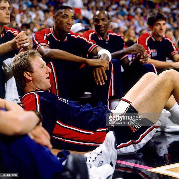 Larry Bird of the United States Men's Basketball Team watches while layin down during a game at the 1992 Olympics in Barcelona Spain NOTE TO USER...