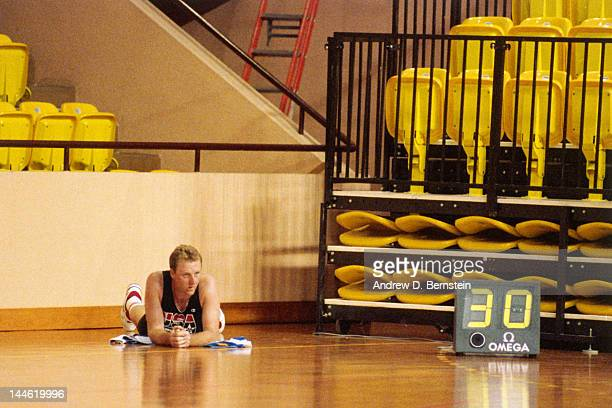 Larry Bird of the United States National Team lies on his back during a practice in June 1992 in La Jolla California NOTE TO USER User expressly...