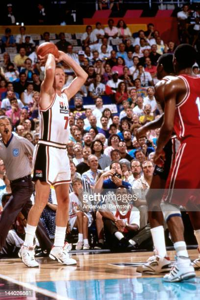 Larry Bird of the United States shoots against Cuba during the Basketball Tournament of Americas on June 28 1992 at the Veterans Memorial Coliseum in...