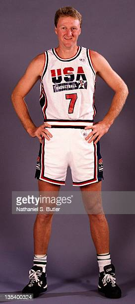 Larry Bird of the USA Senior Men's Basketball team poses for a portrait in 1991 in New York City NOTE TO USER User expressly acknowledges and agrees...