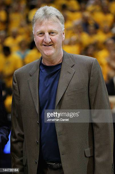 Larry Bird President of Basketball Operations for the Indiana Pacers smiles as he receives the NBA Executive of the Year award before the Pacers take...