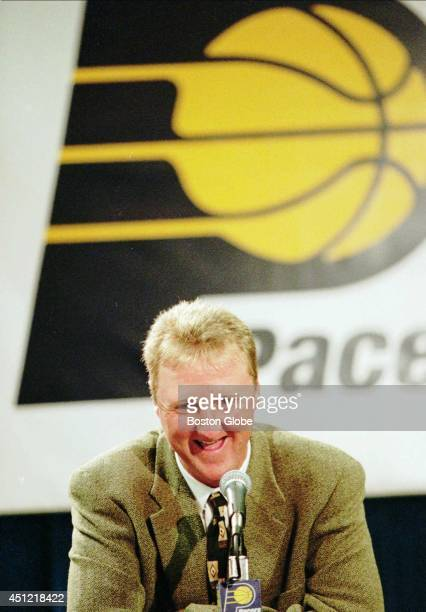 Larry Bird talks to the press at Market Square Arena on Monday May 12 1997