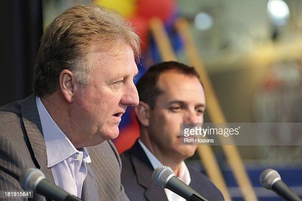 Larry Bird the team president and Frank Vogel the head coach of the Indiana Pacers speak during a press conference about Paul George's contract...
