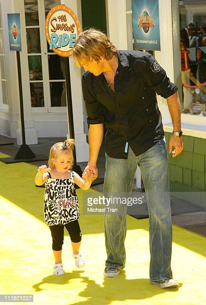 """Larry Birkhead and daughter Dannielynn arrive at the launch party for """"The Simpson's Ride"""" held at Universal Studios Hollywood on May 17, 2008 in..."""