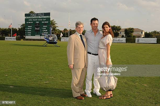 Larry Boland, Jeffrey Donovan and Michelle Woods attend the Piaget Gold Cup at the Palm Beach International Polo Club on March 21, 2010 in...
