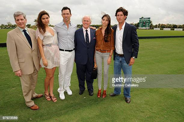 Larry Boland, Michelle Woods, Jeffrey Donovan, Yves Piaget, Nicole Davis and Nic Roldan attend the Piaget Gold Cup at the Palm Beach International...