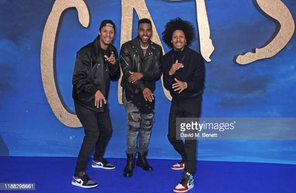 Larry Bourgeois of Les Twins Jason Derulo and Laurent Bourgeois of Les Twins attend a photocall for Cats at the Corinthia Hotel London on December 13...