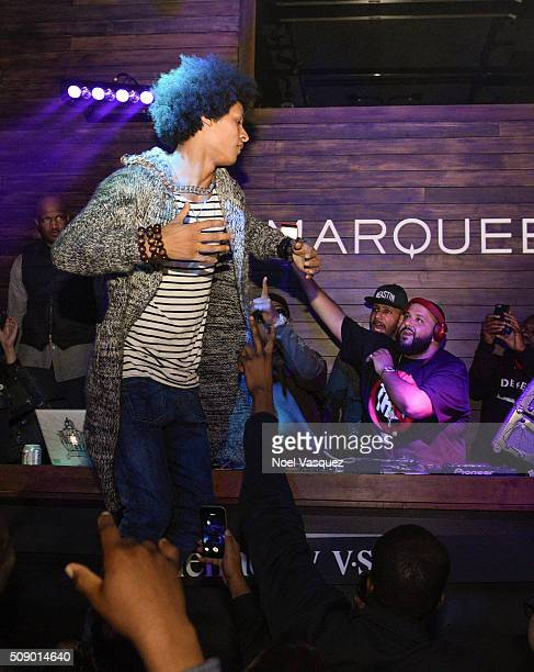 Larry Bourgeois Swizz Beatz and DJ Khaled attend the Marquee Takeover at Verso Big Game Weekend presented by Hennessy VS Day 4 on February 7 2016 in...