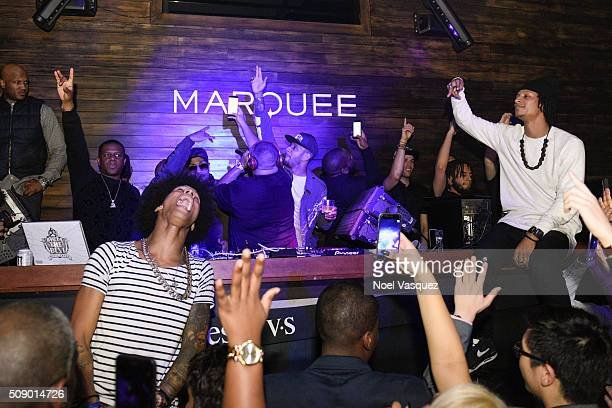 Larry Bourgeois Timbaland Swizz Beatz DJ Khaled and Laurent Bourgeois attend the Marquee Takeover at Verso Big Game Weekend presented by Hennessy VS...