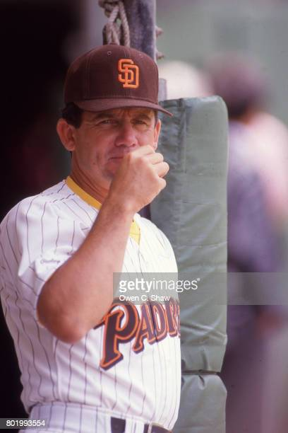 Larry Bowa manager of the San Diego Padres at Jack Muphy Stadium circa 1987 in San Diego California