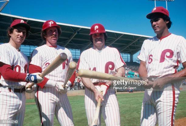 Larry Bowa Mike Schmidt Pete Rose and Manny Trillo of the Philadelphia Phillies pose for the camera during spring training 1979 in Clearwater Florida