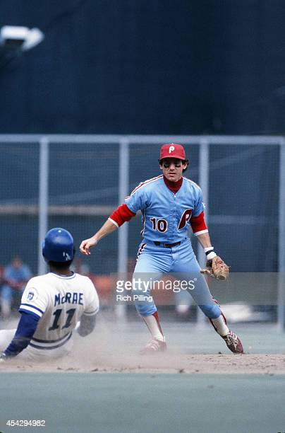 Larry Bowa of the Philadelphia Philles makes a play at second base during World Series game five between the Kansas City Royals and Philadelphia...
