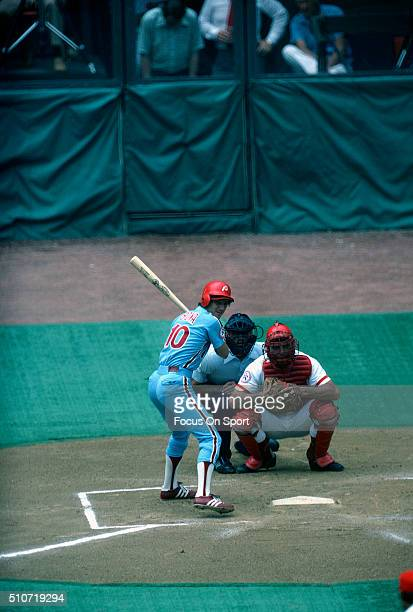 Larry Bowa of the Philadelphia Phillies bats against the Cincinnati Reds during an Major League Baseball game circa 1978 at Riverfront Stadium in...