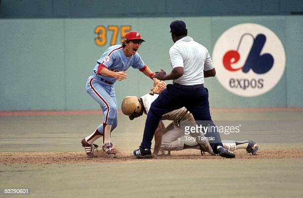 Larry Bowa of the Philadelphia Phillies screams at an umpire after a play at second base involving Bill Robinson of the Pittsburgh Pirates during an...