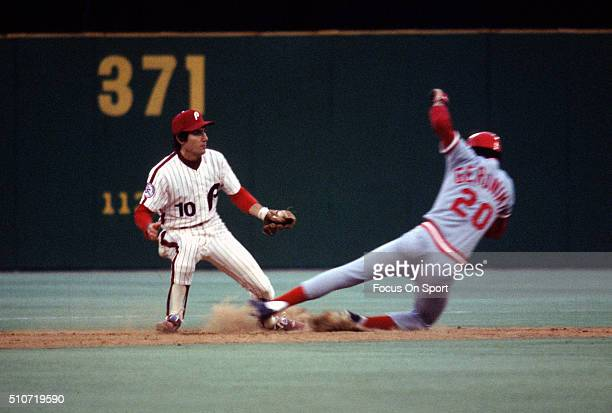 Larry Bowa of the Philadelphia Phillies takes the throw at second base as Cesar Geronimo of the Cincinnati Reds slides in during an Major League...