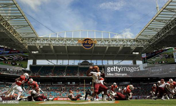 Larry Brihm Jr. #2 of the Bethune Cookman Wildcats passes during a game against the Miami Hurricanes at Hard Rock Stadium on September 2, 2017 in...