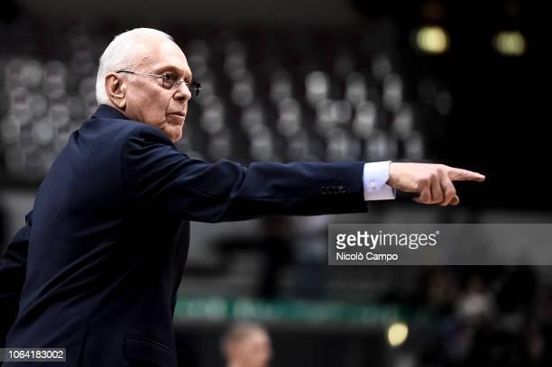 Larry Brown head coach of Fiat Torino Auxilium gestures during the EuroCup 7Days basketball match between Fiat Torino Auxilium and Unics Kazan Unics...