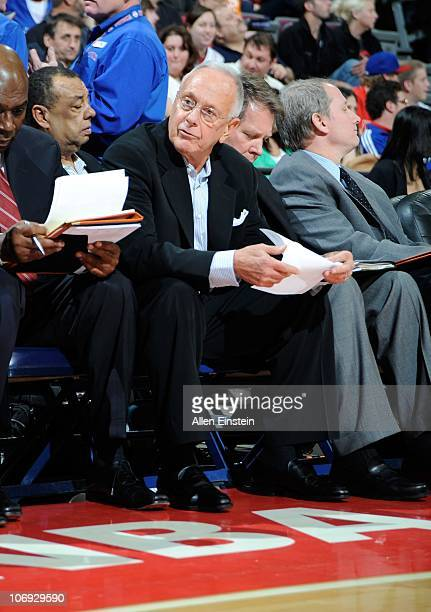 Larry Brown head coach of the Charlotte Bobcats sits on the bench during a game against the Detroit Pistons on November 5 2010 at The Palace of...