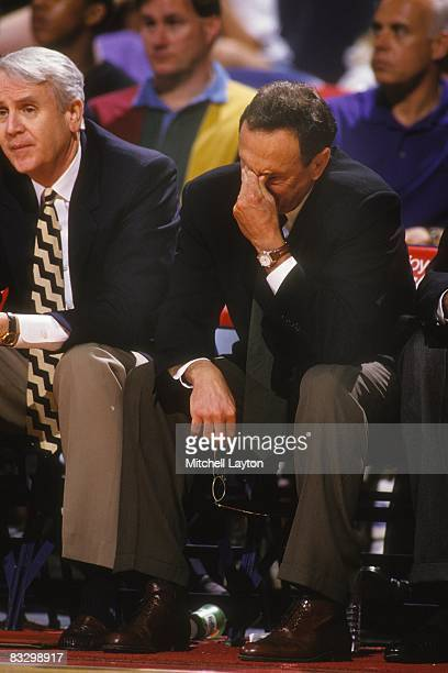 Larry Brown head coach of the Indiana Pacers during a NBA basketball game against the Washington Bullets on April 19 1994 at USAir Arena in Landover...
