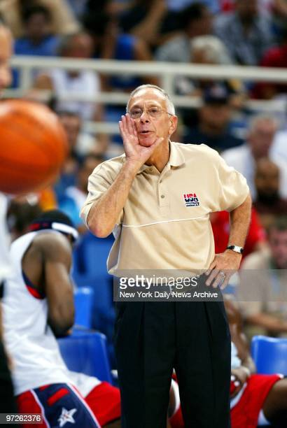 Larry Brown head coach of the US men's basketball team yells from the sidelines during the bronze medal match in the Olympic Indoor Hall at the 2004...