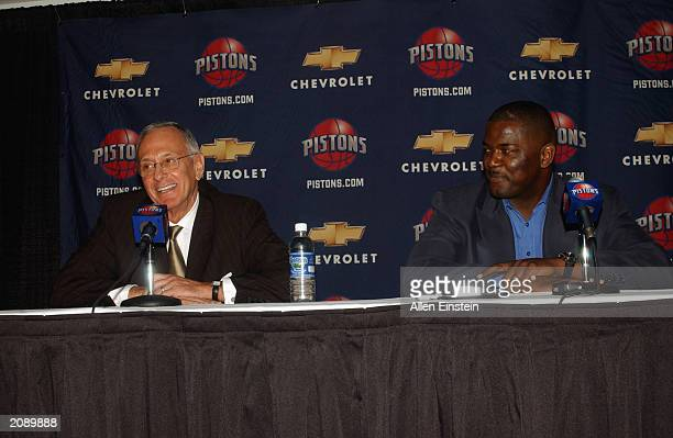 Larry Brown is introduced as Head coach of the Detroit Pistons as Pistons General Manager Joe Dumars looks on at a press conference on June 2 2003 in...