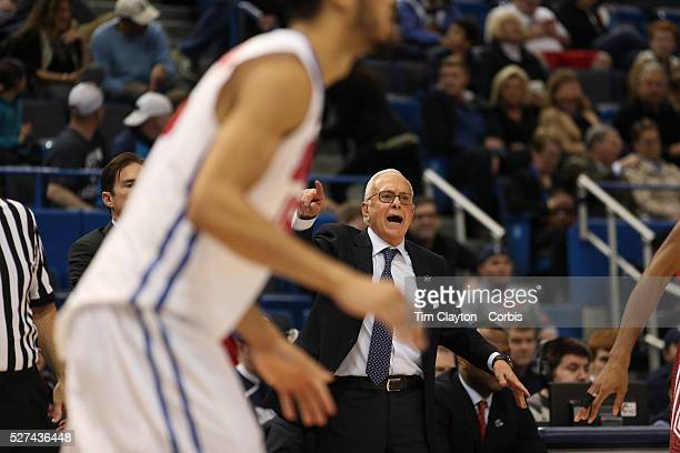 Larry Brown the SMU coach in action on the sideline during the Temple Vs SMU Semi Final game at the American Athletic Conference Men's College...
