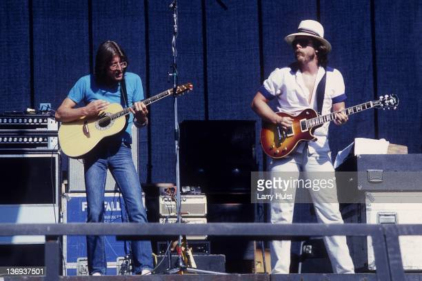 Larry Burnett and Jock Bartley performing with 'Firefall' at the Golden Bear raceway at Cal Expo in Sacramento California on August 16 1980
