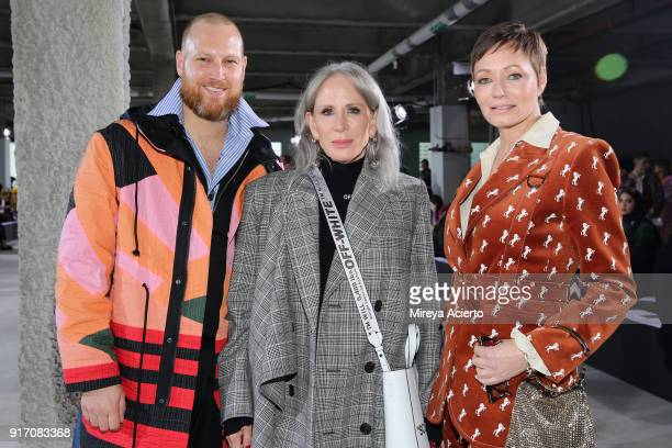 Larry Curran Heidi Dillon and Colette May attend the Tibi front row during New York Fashion Week The Shows at Pier 17 on February 11 2018 in New York...