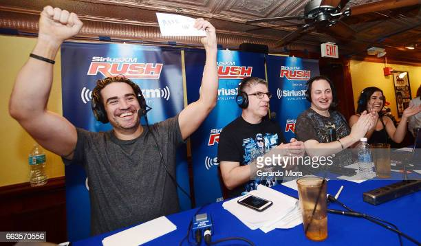 Larry Dallas Dave LaGreca Doug Mortman and Marissa Rives interact with the audience during the SiriusXM's Busted Open Live From WrestleMania 33on...