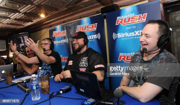 Larry Dallas Dave LaGreca Wrestler Bully Ray and Doug Mortman laugh during the SiriusXM's Busted Open Live From WrestleMania 33on April 1 2017 in...