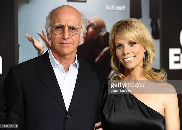 Larry David and Cheryl Hines attend the 7th season premiere of HBO's Curb Your Enthusiasm at Paramount Theater on the Paramount Studios lot on...
