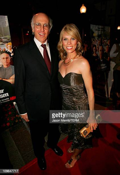 """Larry David and Cheryl Hines during """"Curb Your Enthusiasm"""" Season 5 Premiere Screening - Red Carpet at Paramount Theater at Paramount Pictures Lot in..."""