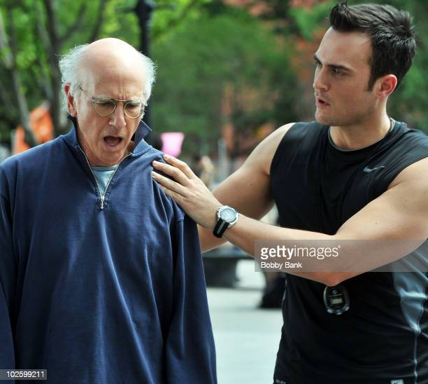 Larry David and Cheyenne Jackson on location for Curb Your Enthusiasm on the streets of Manhattan on July 2 2010 in New York City