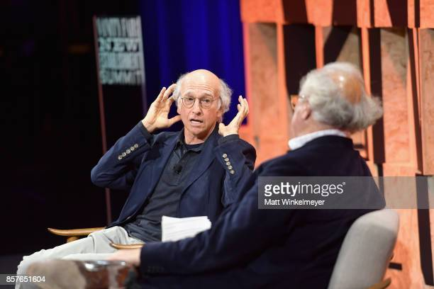Larry David and Editorinchief US Vanity Fair Graydon Carter speak onstage during Vanity Fair New Establishment Summit at Wallis Annenberg Center for...
